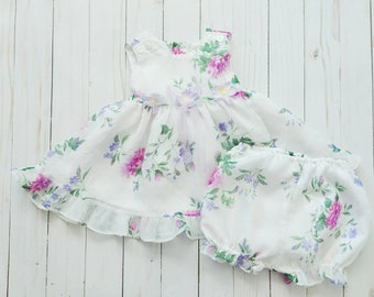 Vintage baby dress and bloomers set, vintage baby bloomers, floral baby bloomers, baby girl spring dress, 3-6 month floral dress, 90s baby
