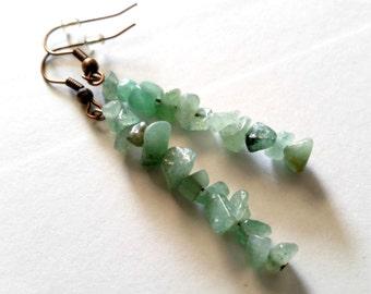 Green Aventurine Gemstone Chip Earrings