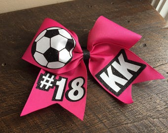 Hot Pink Soccer Cheer Bow, personalized soccer bow