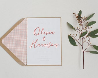 Modern Calligraphy Wedding Invitation and RSVP - Minimal Coral Wedding Invitation - Wedding Stationery