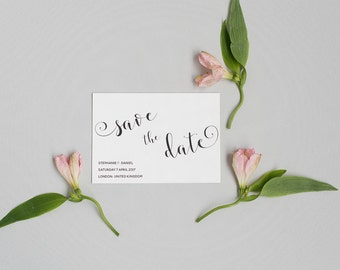 Elegant Save the Date card - Black and White Save the Date - Calligraphy Script Save the Date - Wedding Save the Date card