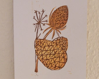 Thistle and Pinecones Handprinted Lino Print