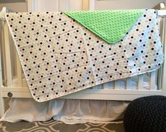 Polka Dot Minky Baby Blanket