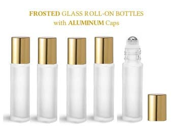 12 LUXURY Solid SHINY GOLD 10ml Frosted Quality Essential Oil Bottles 1/3 Ounce Stainless Steel Rollerball Inserts & Premium Aluminum Caps