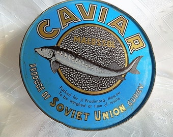 Vintage Rare Soviet Black Caviar tin, Caviar box,  Russian caviar tin , USSR, 1970, Soviet Russia retro tin box
