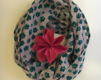 blush pink with emerald green flowers silk scarf