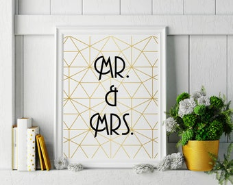 Mr. and Mrs. Gold Gatsby Geometric Inspired Wall Art - Bring Instagram into your Home! Great Wedding Gift! Keepsake & Wedding Decor-