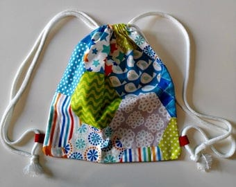 """Backpack """"Hexagons"""" daycare for children fun snack in printed cotton bag with cords to carry food bag"""