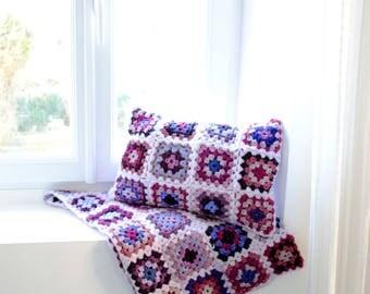 Handmade Baby Blanket/Crochet Plaid/Sofa Throws/Wool Blanket/Purple blanket/80x60cm/Baby shower gift/Decorative throws