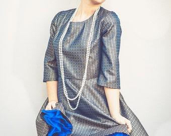 50 years, raw silk dress