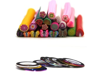 35 polymer clay cane  fruit cane and 15 rolls of striping tape line