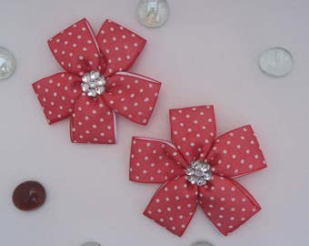 Red flowers. Accessories for hair girl, hair flower accessories girl. Hair bow pair. Red flower. Flowers for the hair. links for girls.