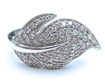 18ct Diamond Feather Ring