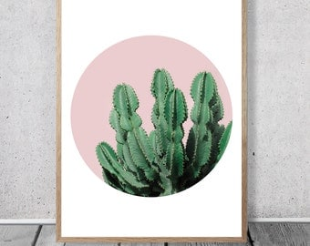 Green Cactus Print - Succulent Wall Art, Geometric Design, Digital download, Dusty Pink, Desert, Boho Decor, Southwestern Photo, Circle