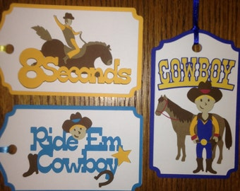 Crafty Tags by Kristin 3D Dimensional Layered Cowboy Horse Rodeo Bucking Bronc Western Gift Tag Assortment Pack of 3
