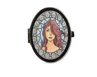 Silvertone Compact Oval Mirror - Art Deco Whimsical