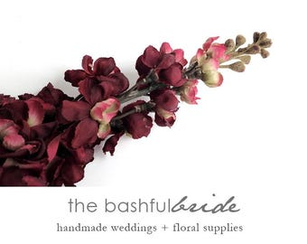 Marsala wedding, Wedding flowers, artificial flowers, silk flowers, delphinium, silk flower arrangement, silk bouquet, silk flower wedding