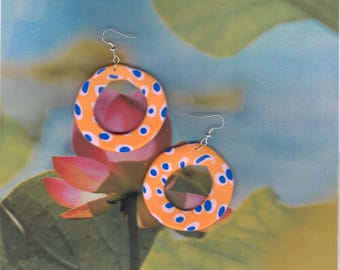 Orange & Blue Spotty Hoop Dangle Earrings