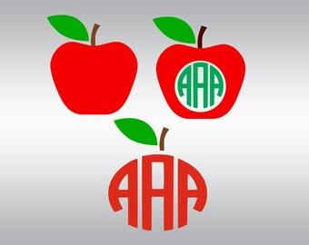 Teacher svg, Apple svg, Apple monogram svg, Apple silhouette svg, Teacher monogram svg, School svg, Cricut, Cameo, Svg, DXF, Png, Pdf, Eps