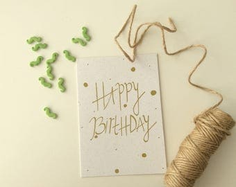 Happy birthday! Gold confetti birthday card
