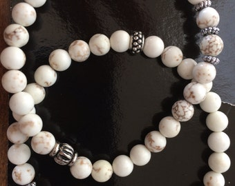 White Turquoise and Chamsa Stretch Bracelet