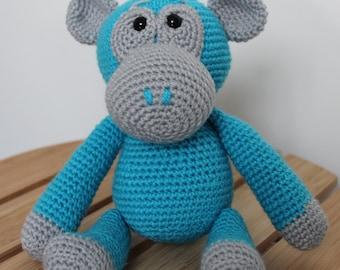 Crochet Monkey blue by ElfworksUK