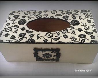 Wooden Tissue Box cover, Rectangular , Black& White