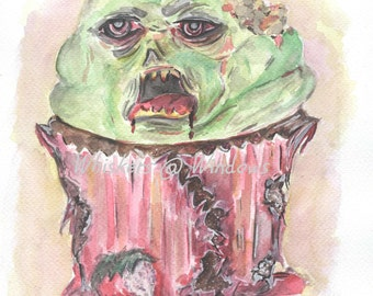 Zombie Cupcake -Printable wall art- Instant download- Watercolor - Wall print