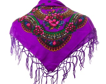 PURPLE folk SCARF shawl violet with flowers and fringes POLAND scarves fashion colors