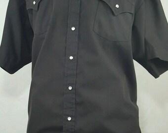 Plains Western Wear Big Man 2X Short Sleeve Solid Black Pearl Snap Mens Shirt