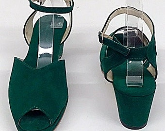 Gina Bottle Green Suede Wedge Sandals