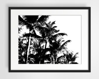 Palm Trees Digital Print, wall art, printable art, screen print effect, black and white