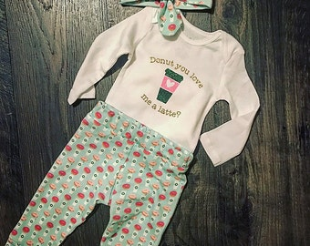 Donut you love me a lattee Handmade Organic Cotton Outfit