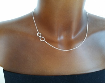 Hammered infinity chain side 925 Silver