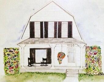 Custom Home Portrait (water color)