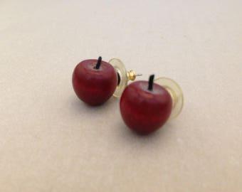 Vintage 3-D Apple Post Earrings