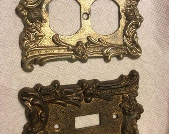 Vintage brass switch plate cover. Vintage brass double outlet cover. Same design for both switch plate and outlet cover.