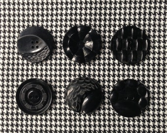 6 Vintage black art deco assorted buttons c1940s