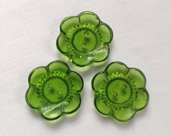 3 vintage green glass flower buttons c1940s