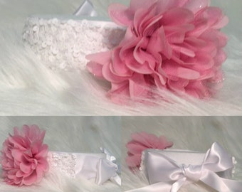 Pink Sequence Sequin Headband Infant Toddler Custom Made Photo shoot Adult Teen Girl  Shabby Chic Glamorous Fashion Party Birthday