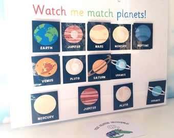 Planets matching learning sheet, EYFS, Early years, Nursery, KS1, Visual learner, Children's development, Interactive learning, Solar system