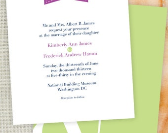 Monogram Marker Purple and Green Printable Wedding Invitation and RSVP with Ampersand Heart