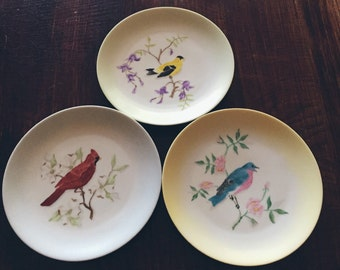 Vintage Agnes Stuart Collectible Bird Plates (Set of 3)