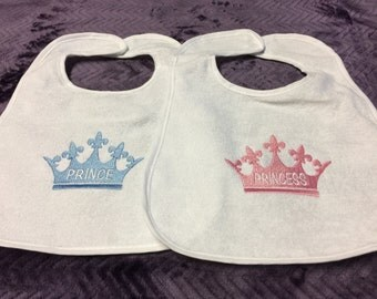 Embroidered Prince/Princess Fleur de Lis Crown Baby Bibs-Girl/Boy