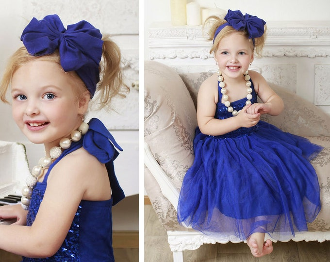 Royal Blue Baby Girls Tulle and Sequine Dress, PICK COLOR: Turquoise, Royal Blue, Red, Pink, Champagne, Aqua, baby girls tutu dress