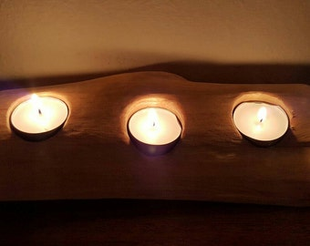 Silver birch tea light holders