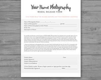 Model Release Form - Photoshop Template for Photographers - PSD *INSTANT DOWNLOAD*