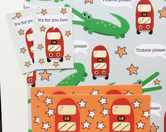 Alligator and Bus Gift Wrap Set