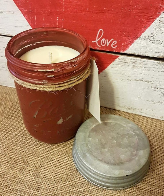Painted Mason Homemade Soy Candle - Midnight Pomegranate