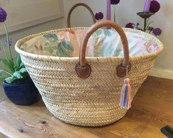 Large French lined shopping  basket. Short handles